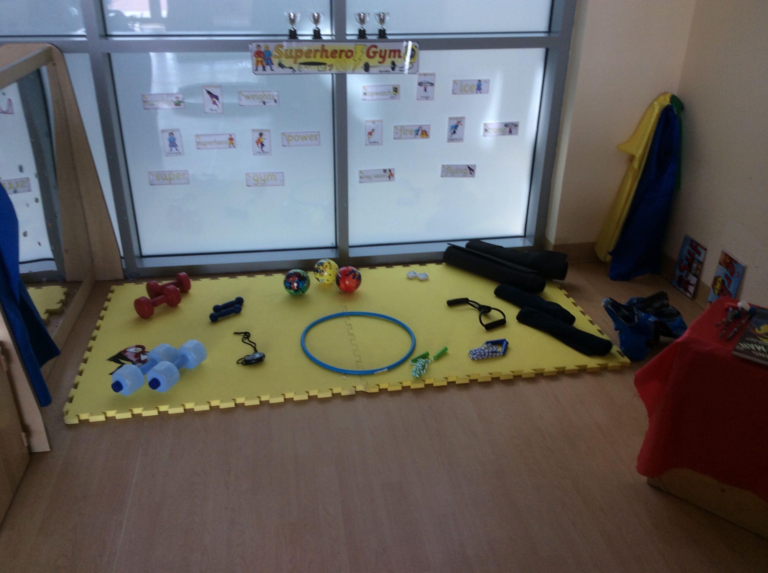 Superhero Gym Role Play Area Eyfs Role Play Areas Role Play Areas Eyfs Dramatic Play Preschool