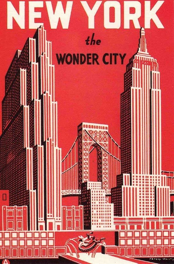 new york the wonder city vintage travel poster print usa america red great american cities