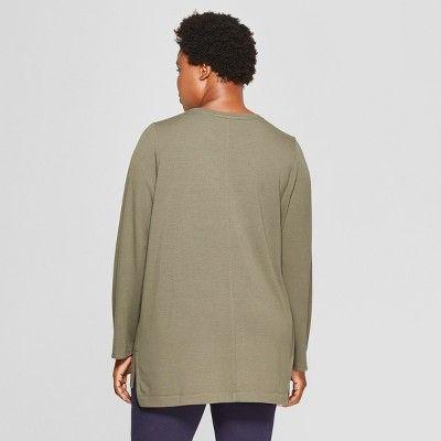 a607e1e1bb5 Women s Plus Size Long Sleeve Crew Neck T-Shirt - Ava   Viv Olive ...