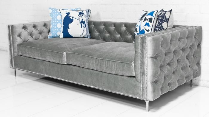 This New Sofa Show Its Colors And Details Both Inside And Out, Featuring  Tufted Bristol Elephant Grey Velvet, Chrome Nail Heads And Chrome Legs.