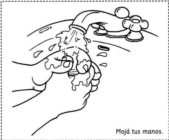 Dibujos para colorear para enseñar a lavarse las manos | dibujo