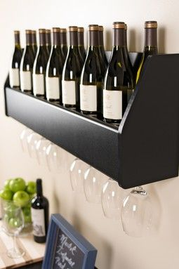 Floating Black Wine Rack