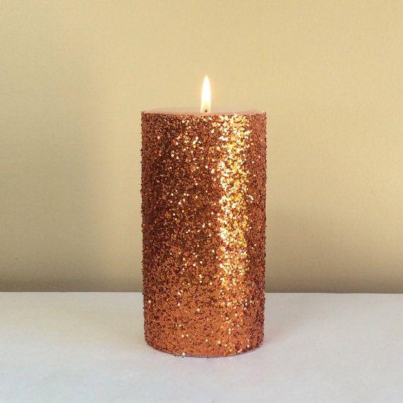 Orange Copper Glitter Unscented Pillar Candle 4 6 9 Inch Free Gift Wrap Pillar Candles Pillar Candle Decor Copper Glitter