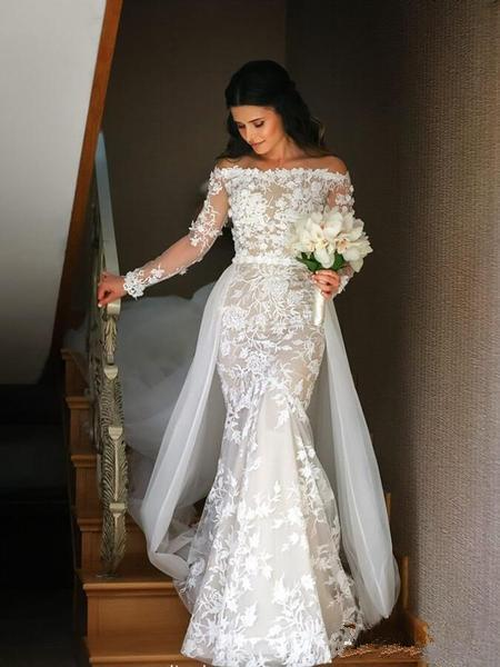 Long Sleeves Lace Mermaid Cheap Wedding