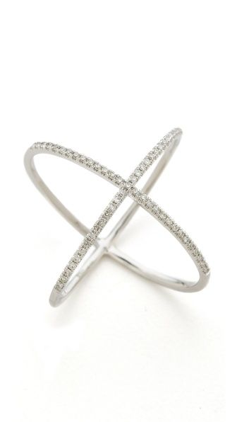 14k White Gold Pave Gold Diamond X Ring