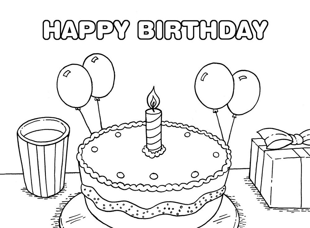 Happy Birthday Cake Color Page  Kiddo Shelter  Coloring Pages