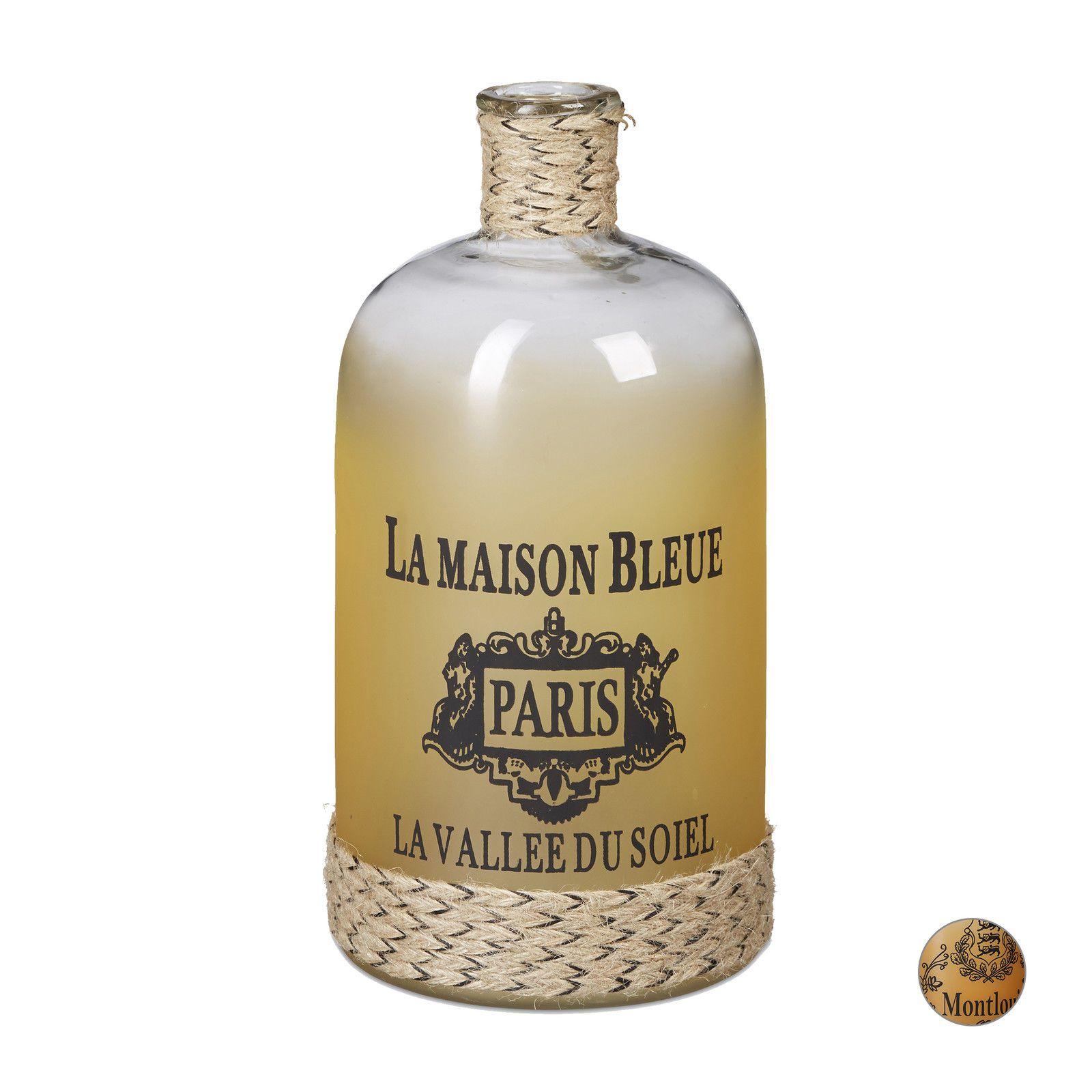 dekoflasche bodenvase glas flasche gro kordel flaschenvase standvase vintage ebay design. Black Bedroom Furniture Sets. Home Design Ideas