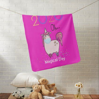 No Fear Unicorn in Facemask Girls Birthday Comfort Baby Blanket
