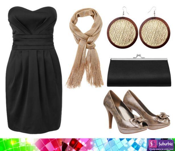 La combinación más glamourosa: negro con dorado; atrévete a combinarlos en tu vestido de graduación. Vestido Metropolis $ 348, Zapatos Contempo $ 448