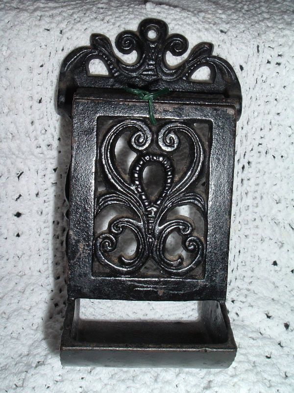 Antique Cast Iron Wall Mount Match Holder W Striker D M H