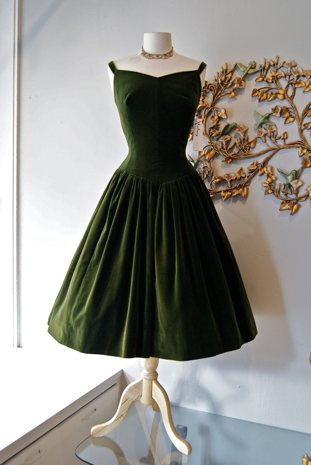 50s Dress 1950s Party Dress Vintage 1950s Couture Olive Etsy 1950s Party Dresses Vintage Dresses Dresses [ 1500 x 1004 Pixel ]