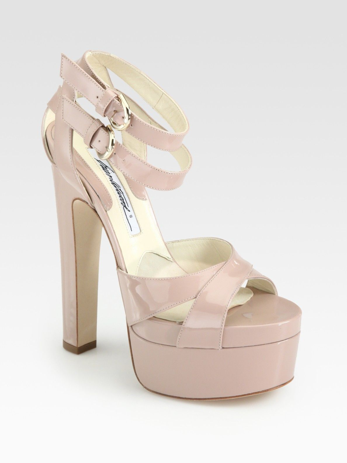 55331d0eaa70 Brian Atwood Lattice Patent Leather Ankle Strap Platform Sandals in Pink  (nude)