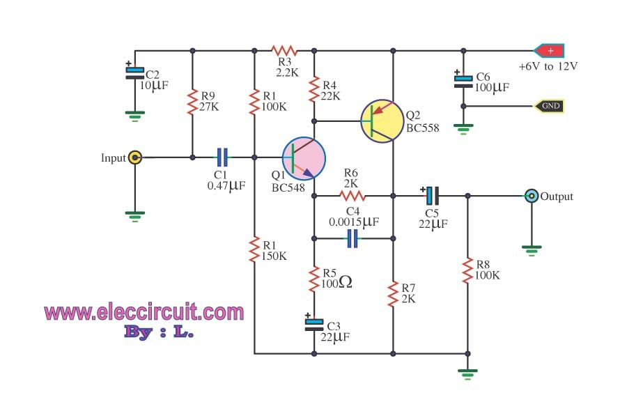 Simple pre-amplifier with transistors BC547 | ELECTRONICA ...
