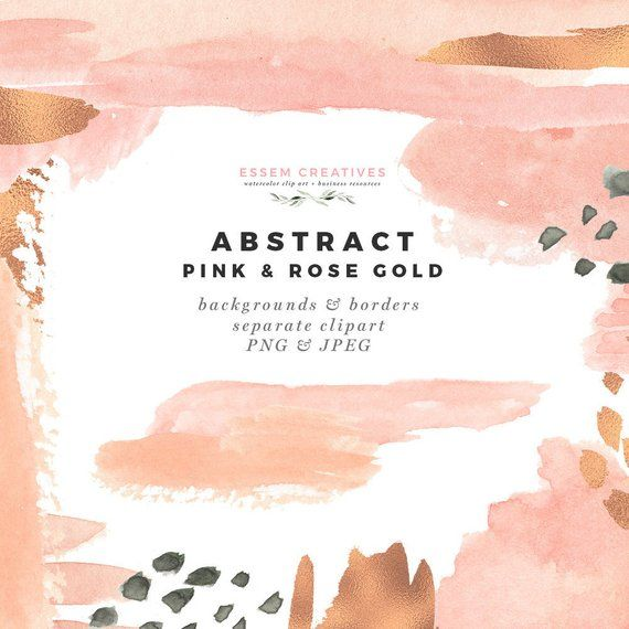 Watercolor Flowers And Paint Brushes: Modern Abstract Pink & Rose Gold Clipart, Watercolor Paint