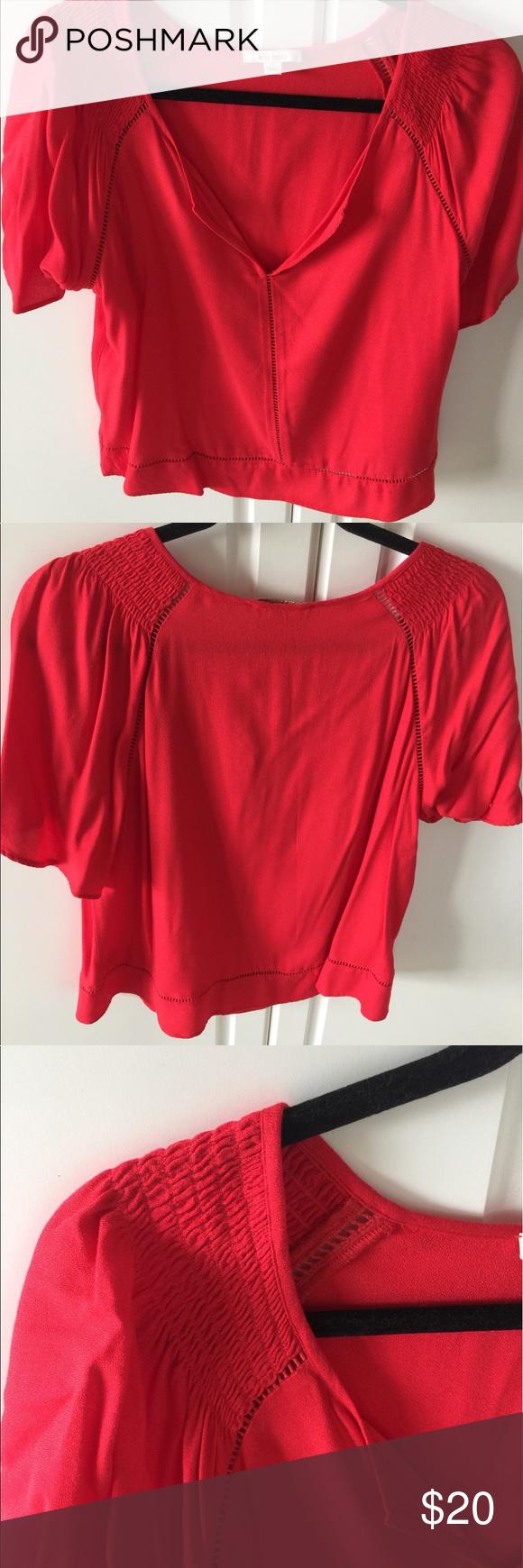 Ella Moss size small Ella Moss color poppy size small blouse 100% rayonne Ella Moss Tops Blouses