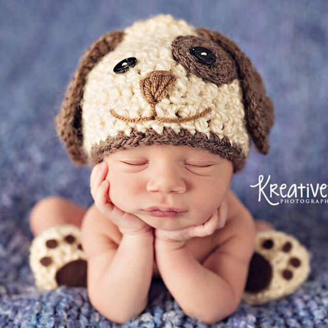 Photo of Baby Boy Hat PUPPY LUV Newborn Baby Boy Crochet Doggy Hat Cream Brown or Blue  D…