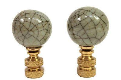 Pair of Beautiful Porcelain Celadon Crackle Lamp Finial 2'