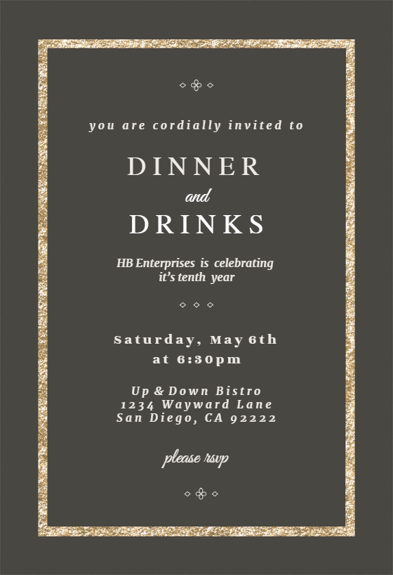 Elegant Gold Dinner Party Invitation Template Free Greetings Island Business Events Invitation Dinner Invitation Template Dinner Party Invitations