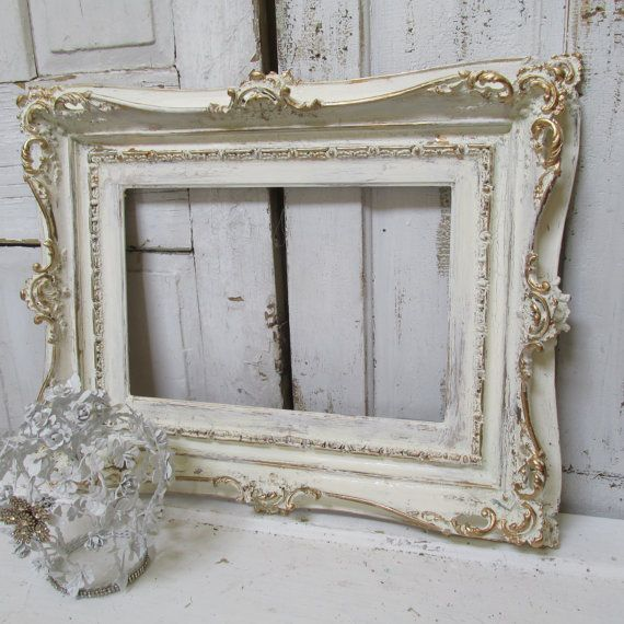 Large Ivory Ornate Frame Hand Painted Wood Distressed Shabby Cottage Wooden Gold Accented Antiqu Ornate Frame Vintage Picture Frames Shabby Chic Picture Frames