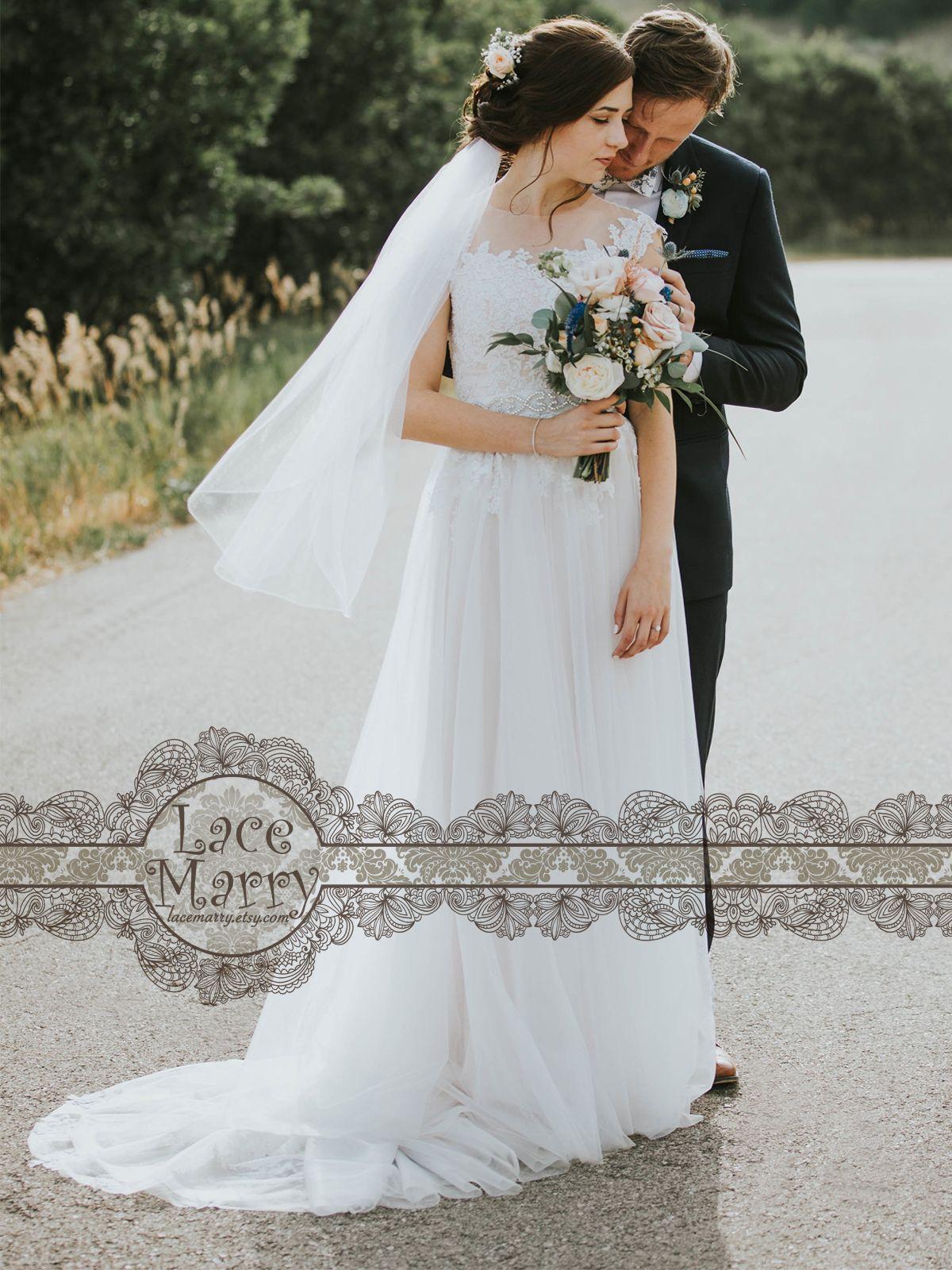 Bohemian summer wedding dress with airy tulle skirt boho wedding