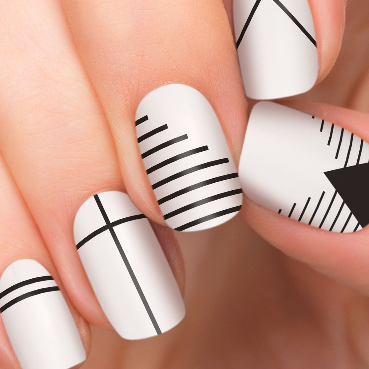 1 manicure set: 16 double-ended nail appliqués - Frost finish- 100 ...