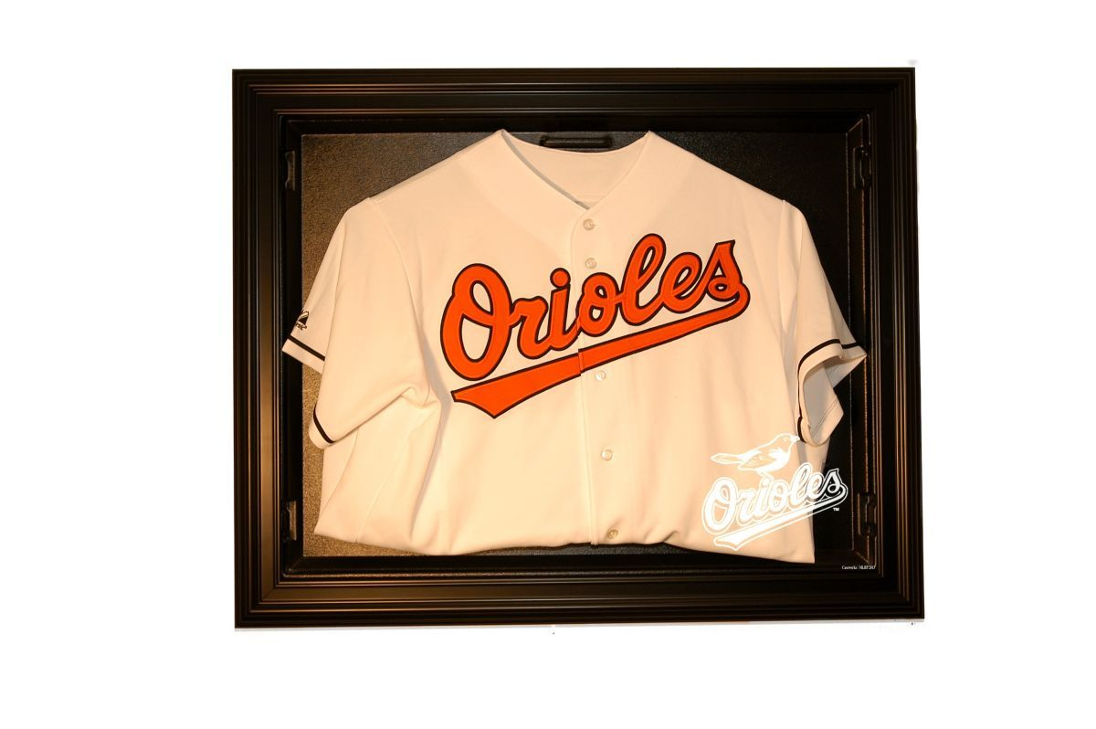 Baltimore Orioles E-Z Removable Face 3/4 View Jersey Display, Black from ManCaveGiant.com