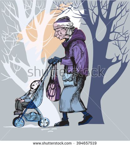 Pretty elderly woman carries her  grandson in a stroller down the avenue autumn park - stock vector
