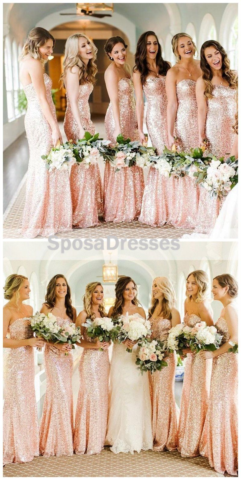 Rose gold sequin mermaid custom long bridesmaid dresses wg rose