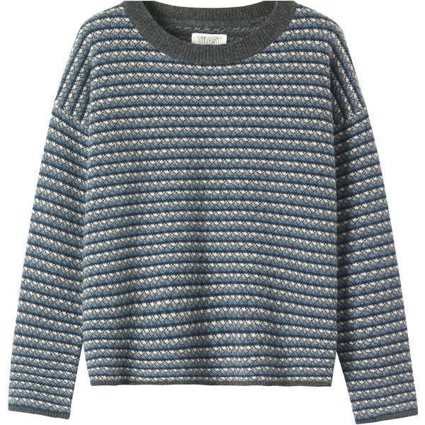 Toast Aldor Sweater (570 HRK) ❤ liked on Polyvore featuring tops, sweaters, blue top, jacquard top, evening tops, blue long sleeve top and long sleeve tops