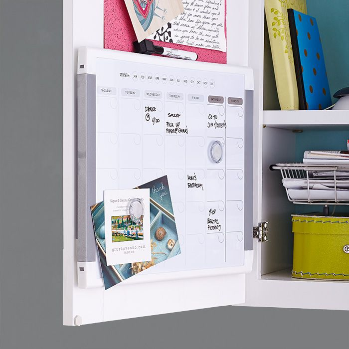 Add A Dry Erase Board Inside A Cabinet Door To Keep Family Business On Track