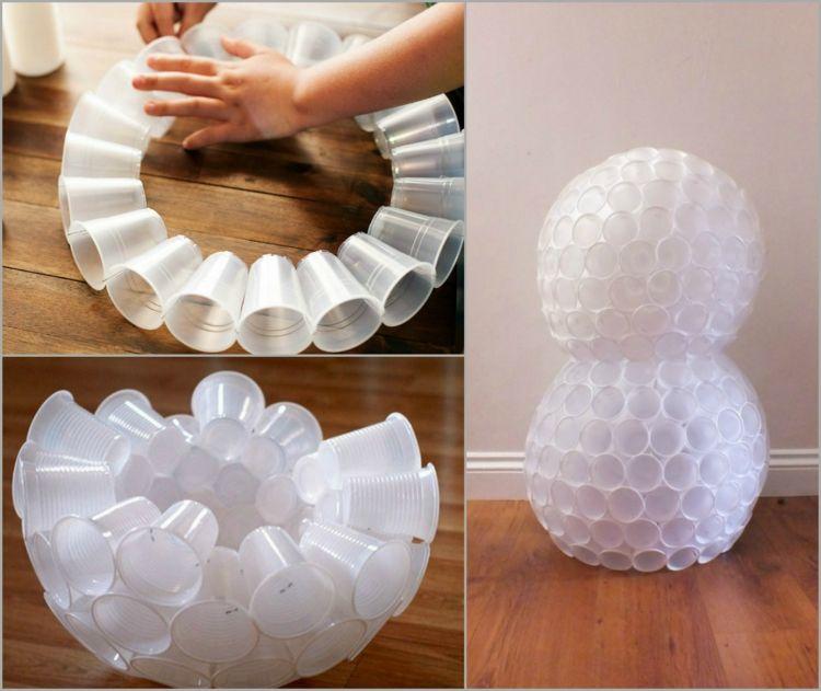 schneemann basteln plastikbecher wei zusammentackern. Black Bedroom Furniture Sets. Home Design Ideas