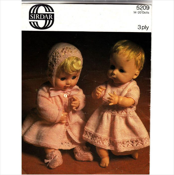 5209 Sirdar Knitting Pattern - Baby Doll Clothes 14-20\