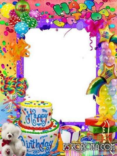 Frame For Photoshop Happy Birthday Birthday Card Template