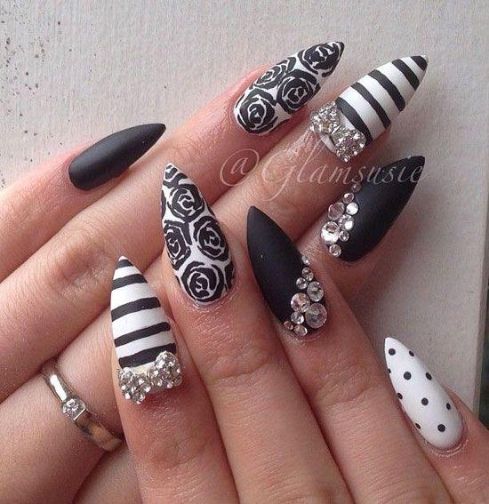 Black And White Stiletto Nail Art With Rhinestones Design | Nail art ...