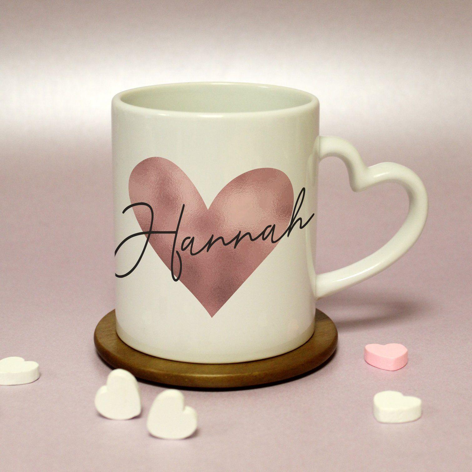Personalised Rose Gold Heart Handled Mug Valentine