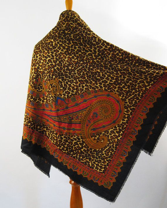 Cotton Animal Print Scarf Large Size Paisley