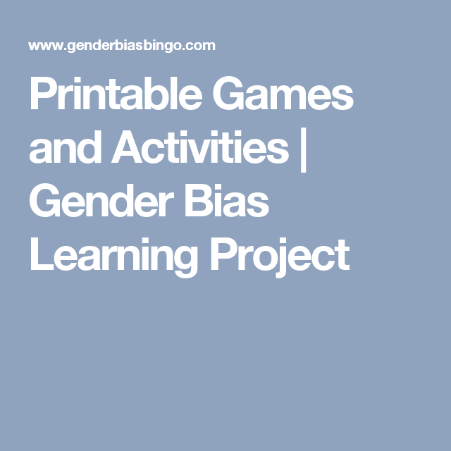printable games and activities gender bias learning project  gender bias essay printable games and activities