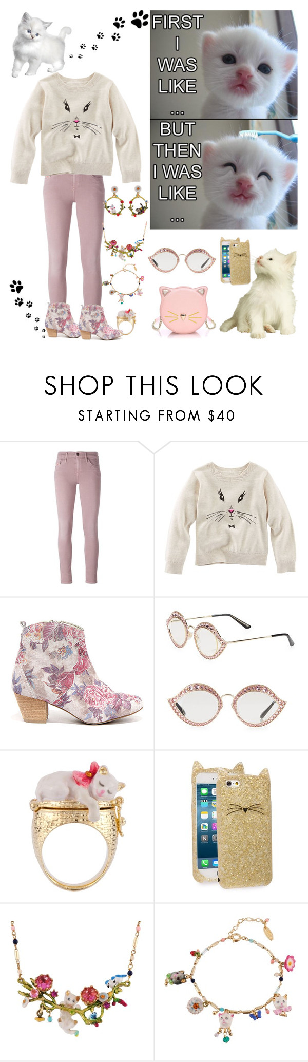 """Kitten Grooming"" by horcal ❤ liked on Polyvore featuring Diesel, Sbicca, Gucci, Les Néréides and Kate Spade"