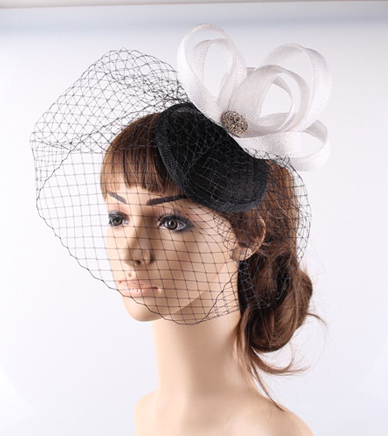 15 Colors Fascinating Sinamay Material Fascinator Headwear Photographic Studio Hair Accessories Suit For Cocktail Hat Wedding Headwear Bridal Birdcage Veils