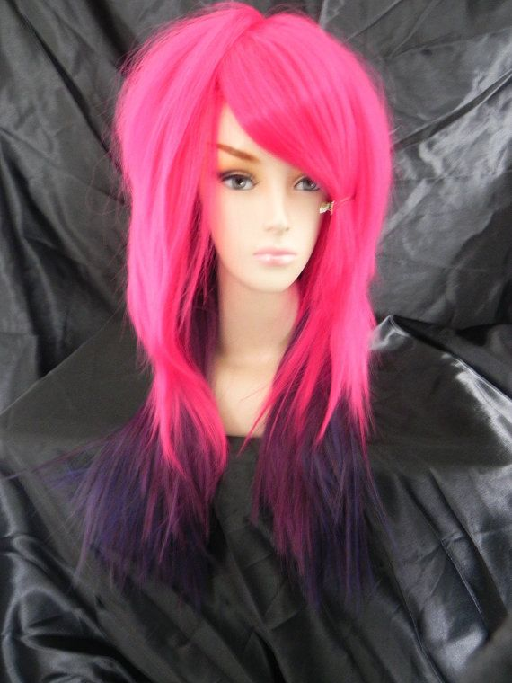 ON SALE Hot Pink and Purple / Long Straight Layered Wig by
