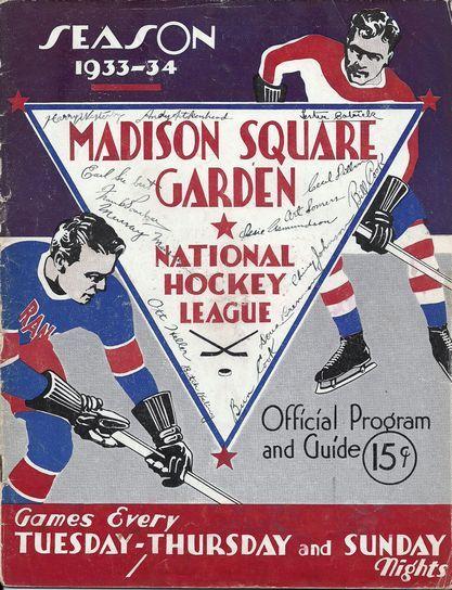 1933-1934 New York Rangers Team Signed Program  f843b6a34
