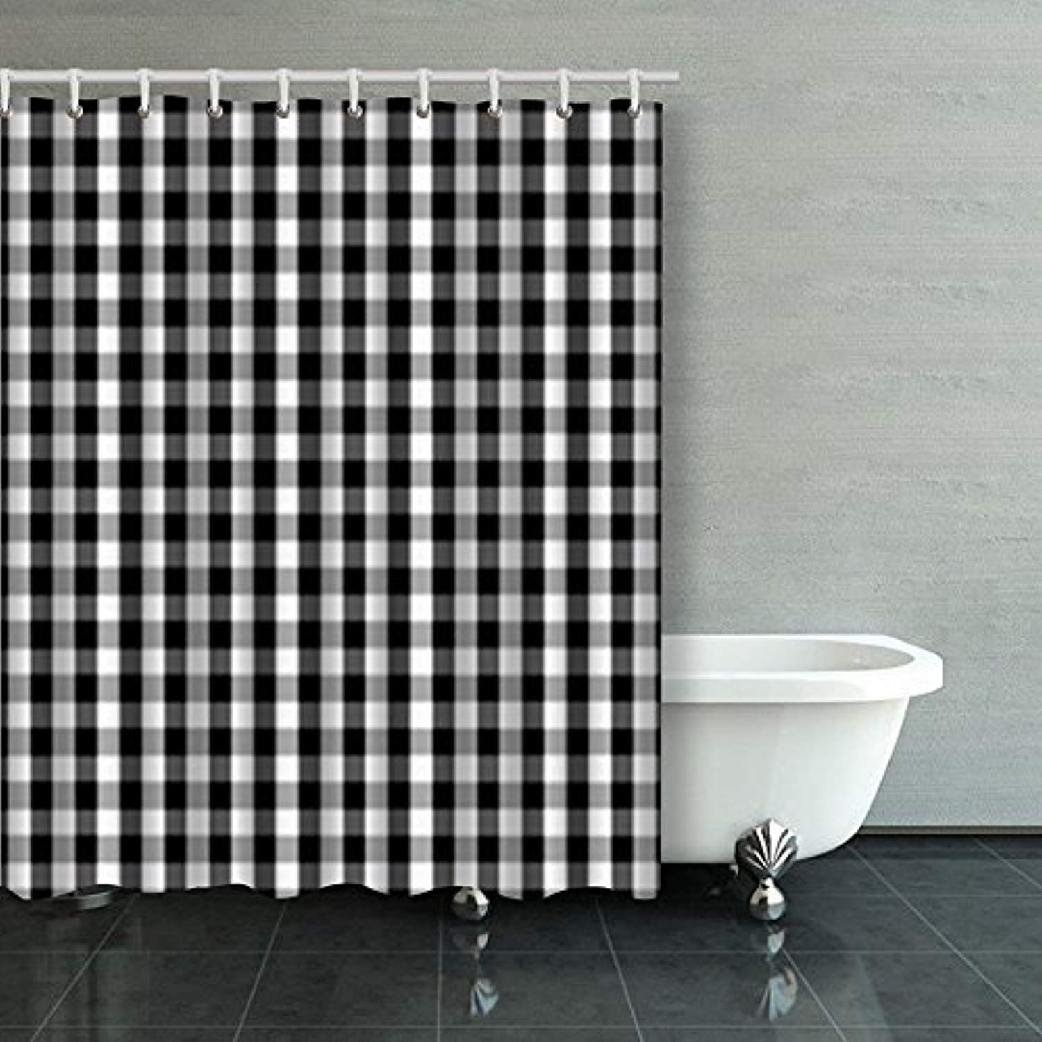 Shower Curtains Black White Buffalo Gingham Pattern Slight Check
