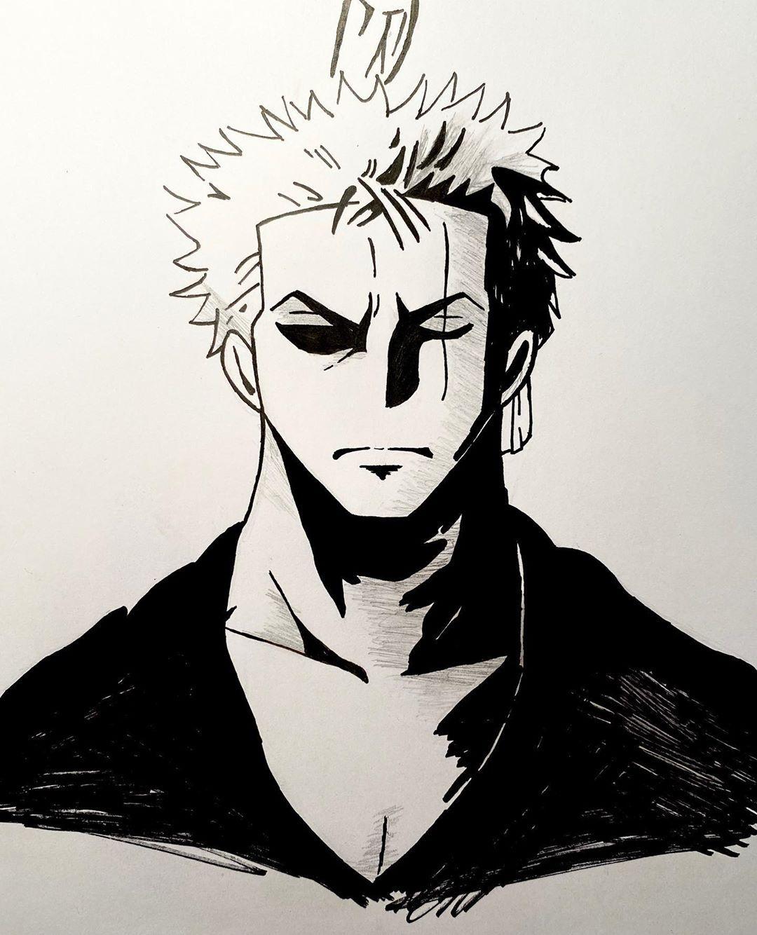 I haven't drawn zoro for my page yet crazy haha so I decided to his wano wanted poster your thoughts?? #onepiece #zoro #zorororonoa #luffy #luffyonepiece #nami #sanji #goku #art #artistsoninstagram #artist #drawing #ink #blackandwhite #manga #mangaart #anime #animeart #artoftheday #naruto #pen