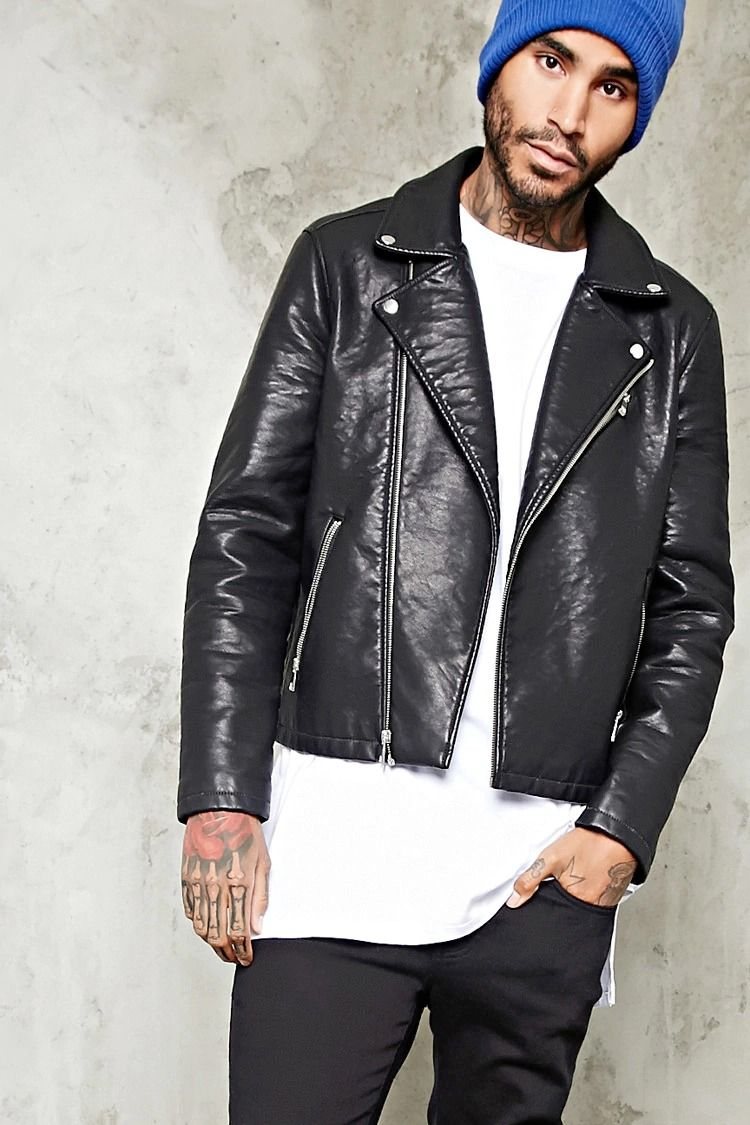 Faux Leather Moto Jacket | Jackets men fashion, Faux leather