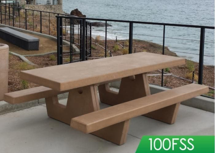 Dan Blocker Beach, Malibu - one piece concrete picnic table with square legs.  Customizable with logos, textures, two tone colors, engravings and plaques.  Choice of sealer.