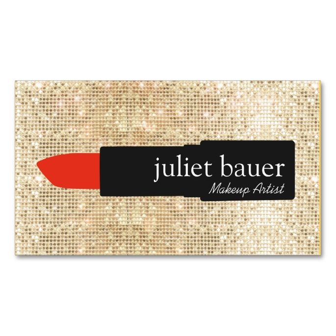 Gold Sequin Makeup Artist Lipstick Logo Beauty Business Card - make up artists resume