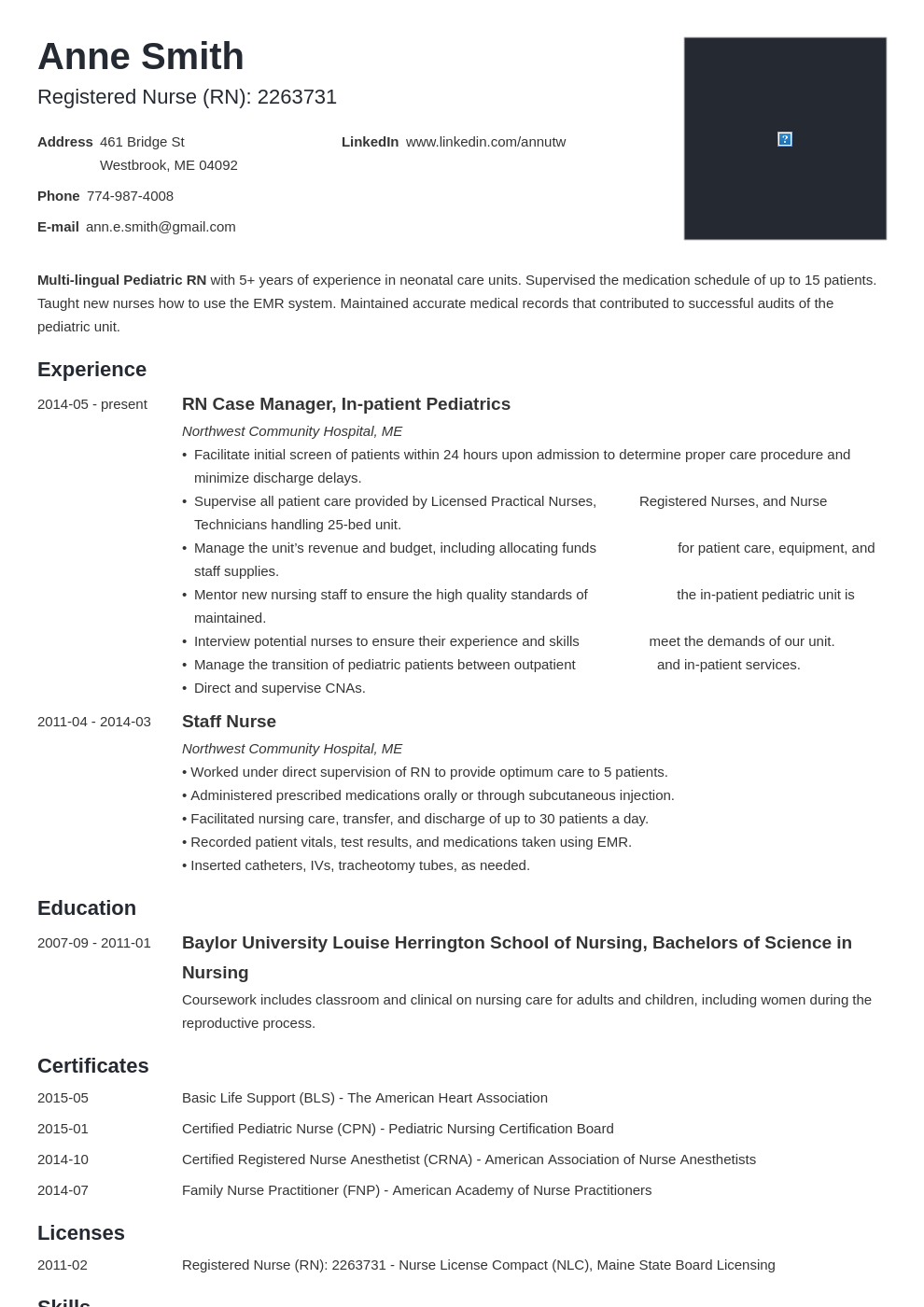 nursing resume examples template minimo in 2020 Nursing