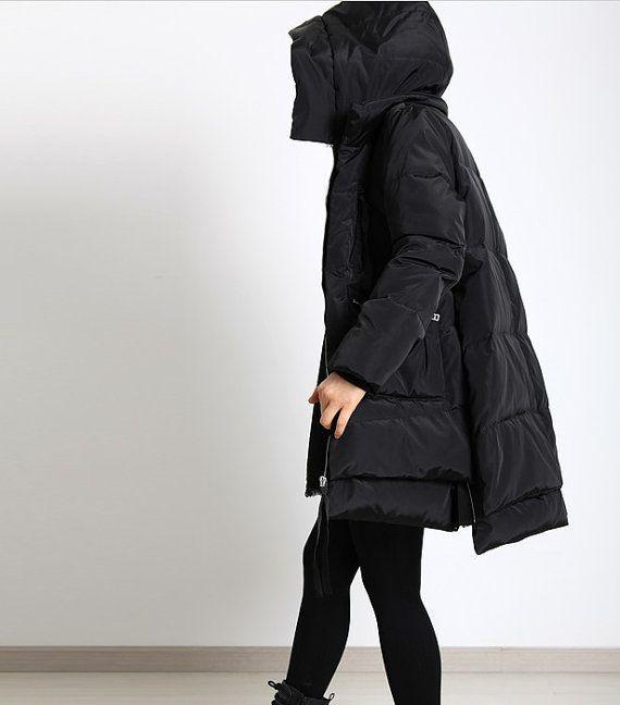 moncler womens side-zip long down coat black
