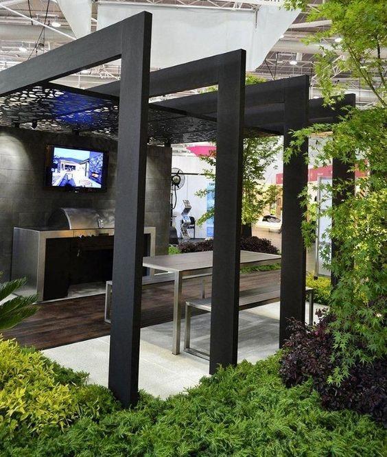 50 awesome pergola design ideas black pergola pergolas. Black Bedroom Furniture Sets. Home Design Ideas