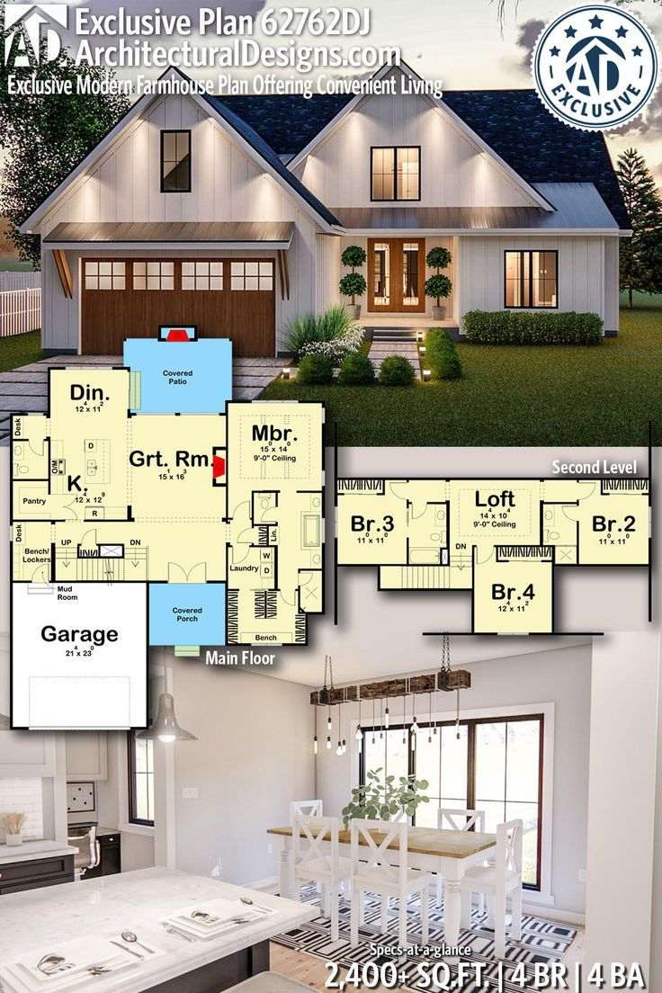 Plan 62762dj Exclusive Modern Farmhouse Plan Offering
